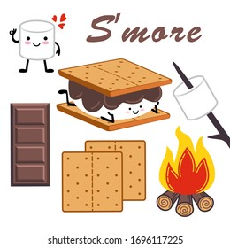 Marshmallow cartoon character,campfire, chocolate bar and graham crackers.   Set of isolated design elements with s'more. Vector illustration.