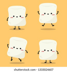 marshmallow character action design. cartoon vector. wallpaper.