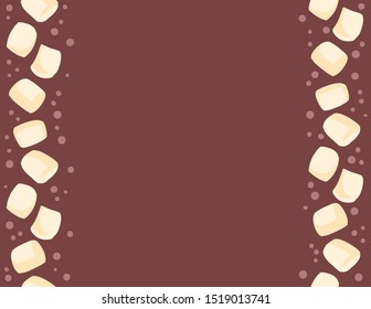 Marshmallow in cocoa seamless pattern. Cup of cacao sweet yummy decoration background tile. Space for text