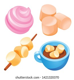 Marshmallow icons set. Cartoon set of marshmallow vector icons for web design