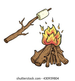 Marshmallow roasted on wooden stick with campfire