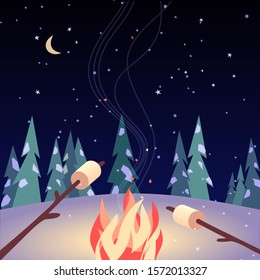 Marshmallow roasting hand drawn flat color vector icon. Marshmallows on stiks in night camping fire cartoon. Winter nature outdoor fun party sign. Winter season campfire poster background illustration