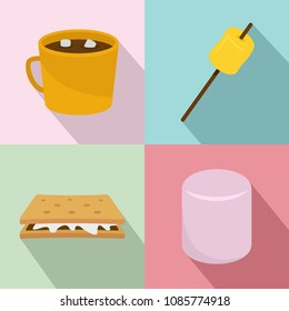 Marshmallow smores candy icons set. Flat illustration of 4 marshmallow smores candy vector icons for web