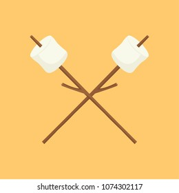 Marshmallow and stick vector. free space for text. wallpaper. background.