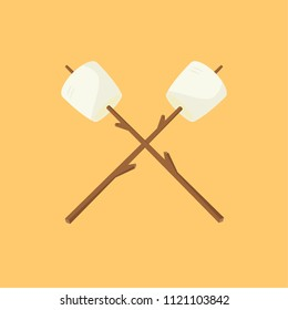Marshmallow and stick vector. free space for text. wallpaper. background. logo. symbol.