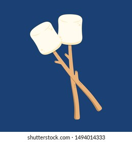 Marshmallow and stick vector. free space for text. wallpaper. background. Marshmallow stick.
