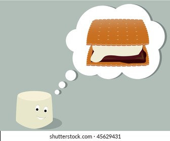 Marshmallow thinking of smore - vector version