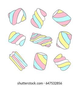 Marshmallows. Illustration set.