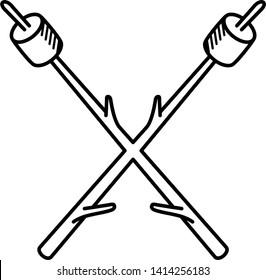 Marshmallows on sticks icon in outline style