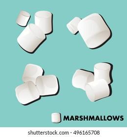 Marshmallows set Background cute vector illustration