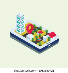 mart city app infographics template vector illustration. Geo location application concept.