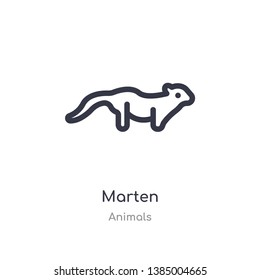 marten outline icon. isolated line vector illustration from animals collection. editable thin stroke marten icon on white background