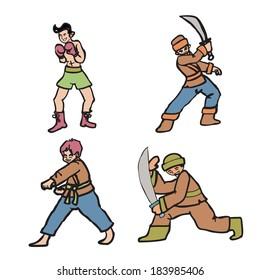 Martial art boy character set