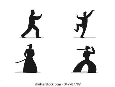 Martial Art Cartoon silhouettes