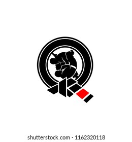 Martial Art Jiujitsu with subtle Q Letter Logo Symbol