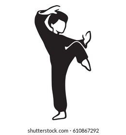 Martial Art Master illustration. Man in karate pose, stylized black and white drawing.