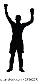 Martial art sportsman celebrate a win after fight match, welcomes audience, isolated on white. Boxer fighter winner celebrates victory vector silhouette illustration. Unanimous decision of the judge.