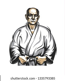 Martial arts coach, sambo, judo and wrestling. An old and wise trainer, an old man in a white kimono.