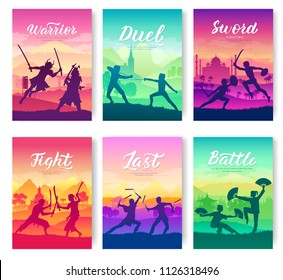 Martial arts of different Nations of the world. Traditional fights with weapons brochure cards set. Fighting style battle nature template of flyear, magazines, poster, books, invitation banners