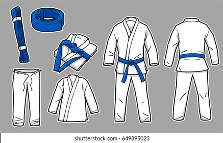 Martial arts ( judo, Brazilian jujitsu, karate ) kimono gi complete with separate pants, shirt, belt, folded version, and full front and back version.