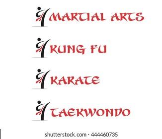 Martial Arts, Kung-Fu, Karate and Taekwon-do Logo