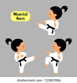 Martial arts. Set of karate poses in cartoon style isolated on grey background. Girl practices kicks. Kid in white kimono.