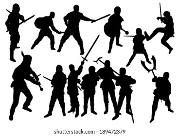 Martial Arts Silhouettes Set