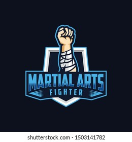 Martial Arts sport logo concept. Hand Fighter with Shield vector template. E Sport logo