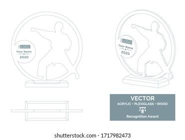 Martial arts Trophy Vector Template, Karate Trophy award, Recognition Trophy Award