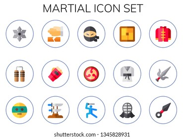 martial icon set. 15 flat martial icons.  Simple modern icons about  - shuriken, nunchaku, martial arts, karate, ninja, kamon, tatami, judo, wushu, katana, kendo, kunai