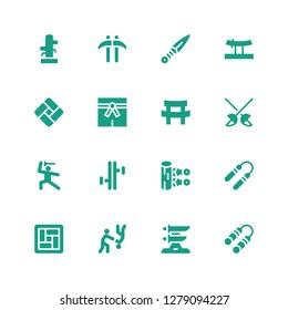 martial icon set. Collection of 16 filled martial icons included Nunchaku, Katana, Aikido, Tatami, Kunai, Tonfa, Martial arts, Fencing, Kusarigama, Wing chun