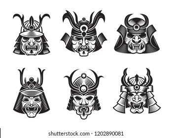 Martial masks. Warrior japanese samurai shogun asian armour vector black illustrations isolated. Set of martial armor helmet and armour asian