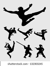 Martial Silhouettes Set. Smooth and detail silhouette vectors. Easy to change color, use Adobe Illustrator 8 or higher to edit your martial silhouettes.