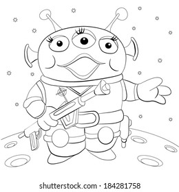 Martian hand with a gun standing on the planet. Coloring book.
