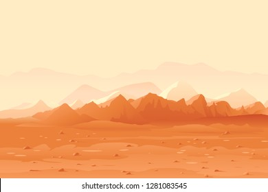 Martian orange mountails landscape background, sand hills with stones on a deserted planet, space colonization panorama, planet colonization concept illustration, landscape of Mars planet