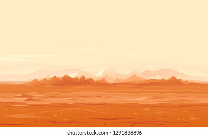 Martian orange surface panorama landscape background on a sunny day, sand hills with stones on a deserted planet, landscape of Mars planet
