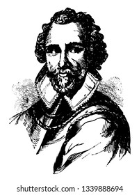 Martin Frobisher he was famous English seaman and privateer who made three voyages to the New World to look for the Northwest Passage vintage line drawing or engraving illustration