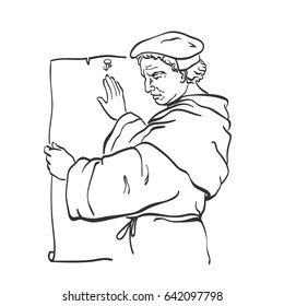 Martin Luther (1483-1546) the key person in Protestant Reformation, nailing the theses to the door of the castle church at Wittenberg. Vector illustration.