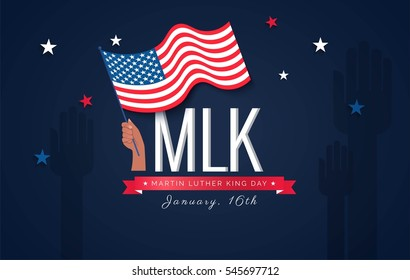 Martin Luther King Day flyer, banner or poster. Holiday background with waving flag in man's hand. Vector flat illustration