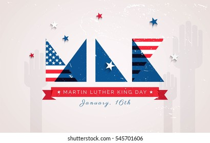 Martin Luther King Day flyer, banner or poster. Holiday background with MLK letters in us national colors. Vector flat illustration