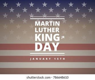 Martin Luther King Day greeting card - American flag abstract background illustration - vector