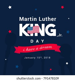 Martin Luther King Day greeting card vector illustration. Typography with stars on dark blue background.