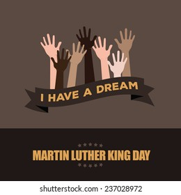 Martin Luther King Day Hands Raised Design EPS 10 vector stock illustration