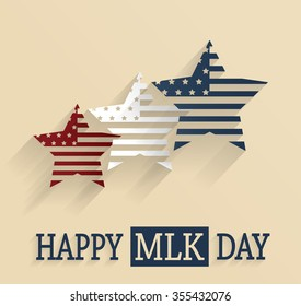 Martin Luther King Day poster. Red, white and blue stars. Vector illustration.