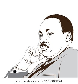 "Martin Luther King Jr. (1929 – 1968) an American.  where he delivered his famous ""I Have a Dream"" speech. vector image of martin luther king."