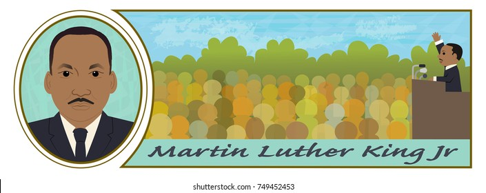 Martin Luther King Jr - Cartoon illustration of Martin Luther King Jr portrait and speaking in front of a crowd. Eps10