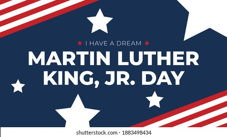 Martin Luther King, Jr. Day Text Over Patriotic Horizontal Background with Stars and Stripes, MLK Day Typography Message with American Flags Border, Martin Luther King, Jr. Day Greeting Card Design