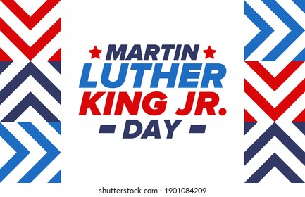 Martin Luther King, Jr. Day. Celebrated annual in United States in January, federal holiday. African American Rights Fighter. Patriotic american elements. Poster, card, banner, background. Vector