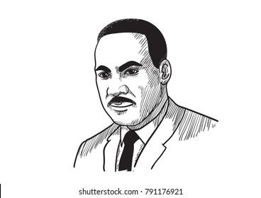 Martin Luther King Jr. Vector Illustration 1955, Alabama
