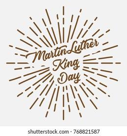 martin luther king text typography brown sun starburst circle retro vintage design